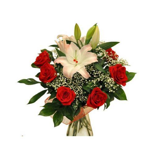 Букеты камелия, букеты лилии с розами